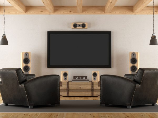 Vintage room with contemporary home cinema system – 3d rendering