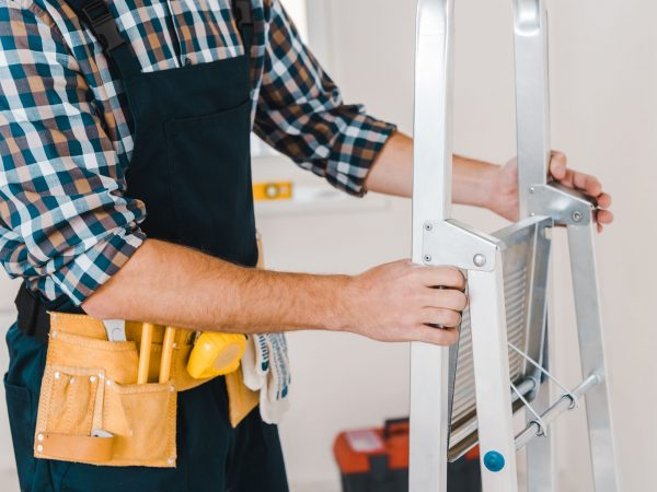 cropped view of handyman holding ladder in room
