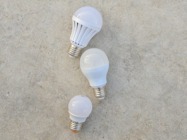 LED Bulbs on the white concrete