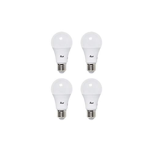 Focos LED, Pack de 4 lámparas Tipo A19 LED, Luz cálida, focos ahorradores, Illux FL-10A19.KIT30