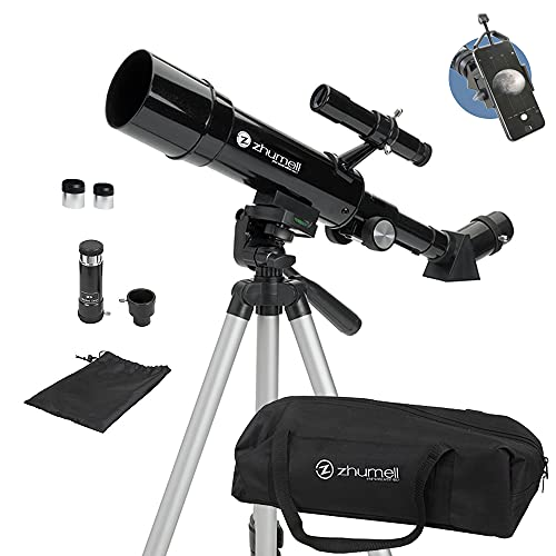Zhumell - Telescopio Refractor portátil de 50 mm - Óptica de Vidrio revestida - Telescopio Ideal para Principiantes - Adaptador para Smartphone Digiscoping