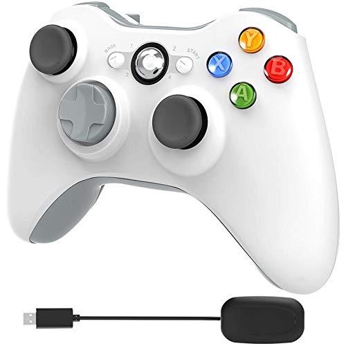 YCCSKY - Controlador inalámbrico para Xbox 360, 2,4 GHz, doble vibración, controlador de juego mejorado con receptor remoto, Joypad para Xbox 360 Slim/PS3 y PC Windows 7/8/10 (blanco)
