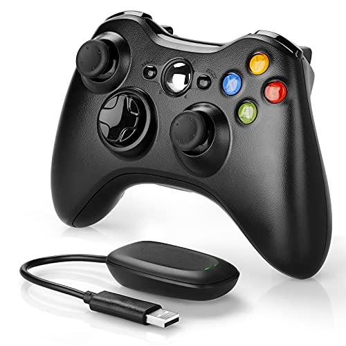 YAEYE - Mando inalámbrico para Xbox 360, 2,4 GHz, mando a distancia para consola Xbox 360 Slim, PC Windows 7, 8, 10 (negro)