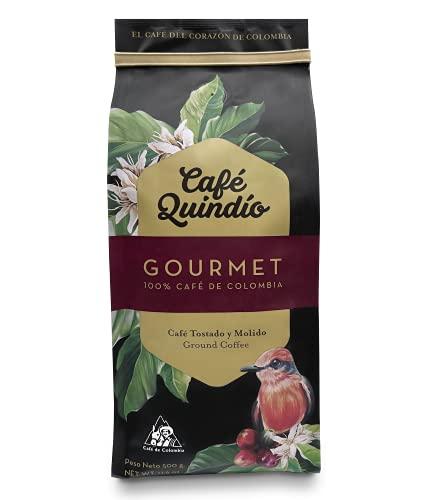 Café Quindío Gourmet Molido 500 g. / 17.6 oz / 1.10 lb., Tostado Medio, 100% Café Excelso Arábico Colombiano, Cultivo Artesanal, Tostado y empacado en Origen.