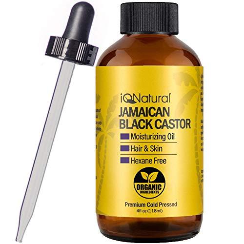 Aceite de ricino negro jamaicano certificado por USDA, orgánico para el crecimiento del cabello y acondicionamiento de la piel [olor regular] – botella 100% prensada en frío de 4 onzas