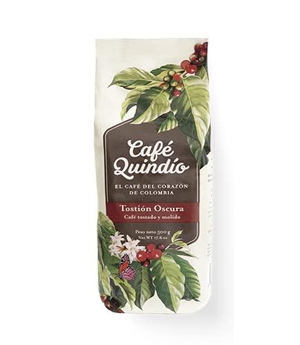Café Quindío Consumo Superior Tostado Oscuro Molido 500 g / 17.6 oz / 1.10 lb., El Café del Corazón de Colombia, 100% Café Arábico Colombiano, de Cultivo Artesanal, Tostado y empacado en Origen.
