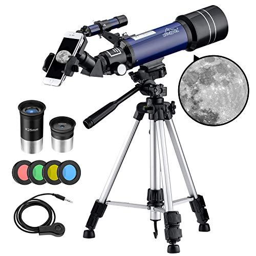 MAXLAPTER - Telescopio para niños y Principiantes, telescopio Refractor de Viaje de 70 mm para astronomía con trípode Ajustable, Adaptador para Smartphone, Control de Cable Obturador de cámara, mo