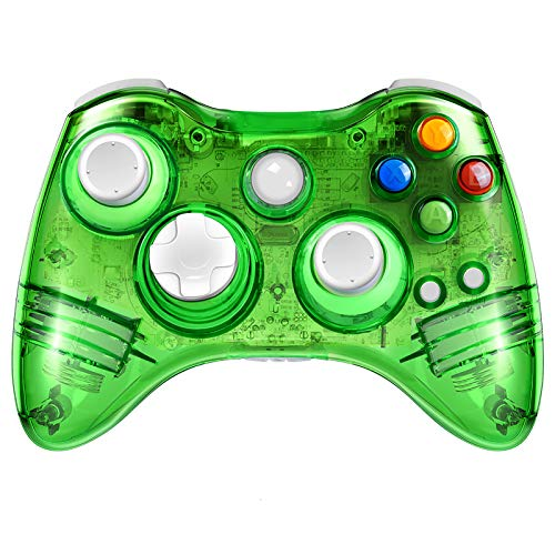 PowerLead - Mando inalámbrico para Xbox 360, compatible con Microsoft Xbox 360, Windows y PC con 7 luces intermitentes LED (verde)