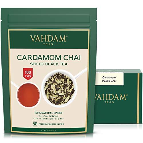 VAHDAM, hojas sueltas de té de cardamomo chai (100 tazas) | El tradicional té de cardamomo de la India | Te chai con especias | Preparar té caliente, té helado o Chai Latte | Masala Chai Tea | 200gr