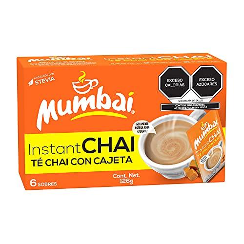Mumbai, Té Chai Mumbai instantáneo sabor Cajeta 6 Sobres, 126 gramos