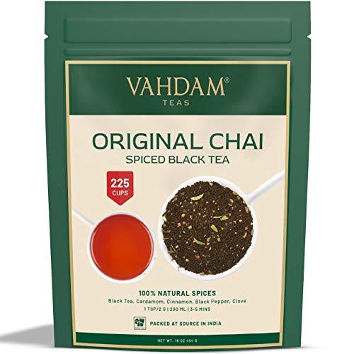 VAHDAM, Hojas Sueltas de te Original Indio Masala Chai latte (más de 200 tazas) | 100% INGREDIENTES NATURALES | Té negro, canela, cardamomo, clavo y pimienta negra | Producto de la India | Tea | 454gr