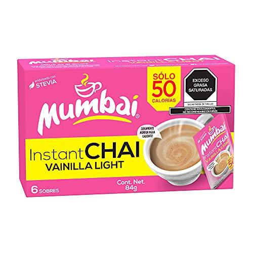 Mumbai, Té Chai Mumbai instantáneo sabor Vainilla Light 6 Sobres, 84 gramos