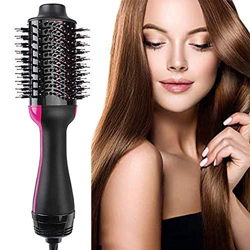 cepillo secador de pelo - 3 en 1 Cepillos de aire caliente Iones negativos Styler Plancha de pelo y rizador Peine para todo tipo de cabello (Rosa)