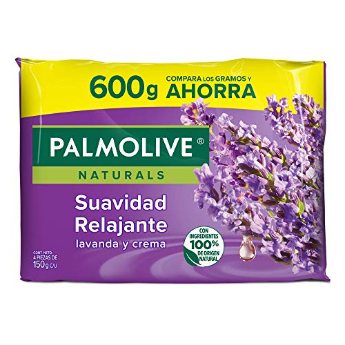 Palmolive Naturals Jabón en barra Aroma Lavanda y Crema, Fabricado responsablemente, con humectante natural, Ffragancia con ingredientes naturales, Piel suave y relajación,4 barras