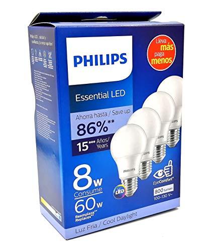 Foco Led Lampara Philips Ahorrador Paquete con 4 piezas consume 8W ilumina 60W A19 E27 Interior Exterior Casa Oficina Terraza Patio 800 lumenes Luz Fria Blanca