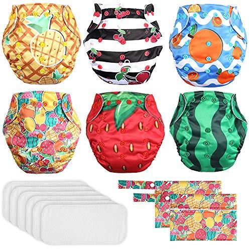 Lictin Pañales Lavables de Tela- 6 Pcs Pañales Lavables de para Bebé, Pañales Ajustable y Reutilizable para Bebés con 2 Bolsas de Almacenamiento