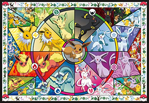 Buffalo Games Rompecabezas de Pokemon, diseño de vitral de Eevee, 2000 Piezas