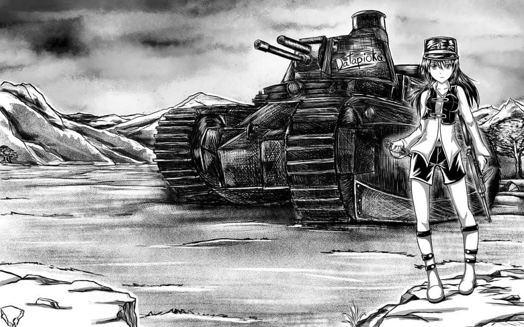 Um mangá com um tanque na estrada em um cenário montanhoso. Na parte direita da imagem existe uma mulher uniformizada com um rifle na mão esquerda.
