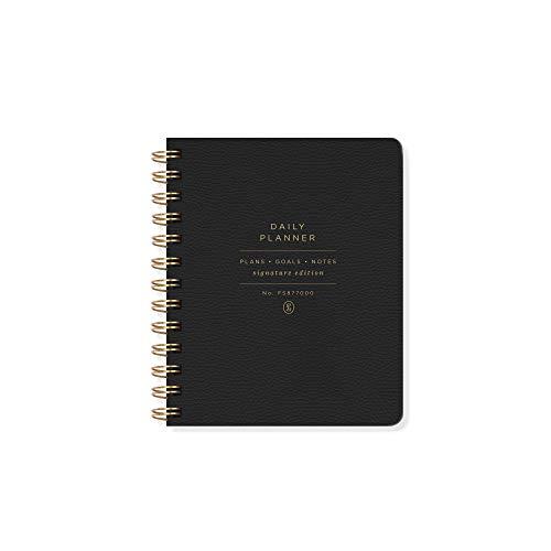 Fringe Studio Agenda diaria sin fecha, 160 páginas, encuadernación en espiral de doble anillo, negro estándar (877003)