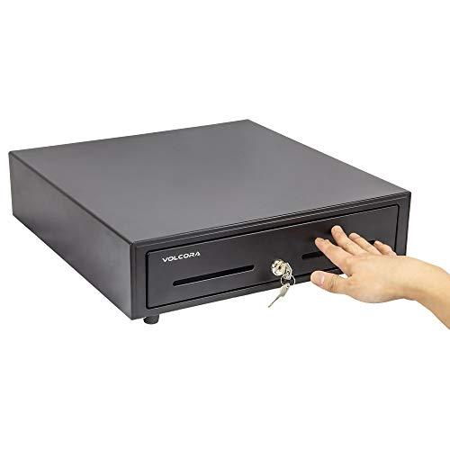 Cajón de caja registradora manual de 16 pulgadas para sistema de punto de venta (POS), color negro resistente hasta 5 billetes/8 ranuras para monedas, cerradura con bandeja para dinero totalmente extraíble y doble ranuras para medios