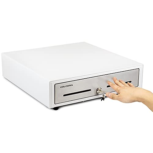 Cajón de caja registradora manual de 40,6 cm para sistema de punto de venta (POS) – Panel táctil frontal de acero inoxidable y blanco – Cajón duradero con bandeja extraíble, 5 billetes y 8 ranuras para monedas, cerradura de llave