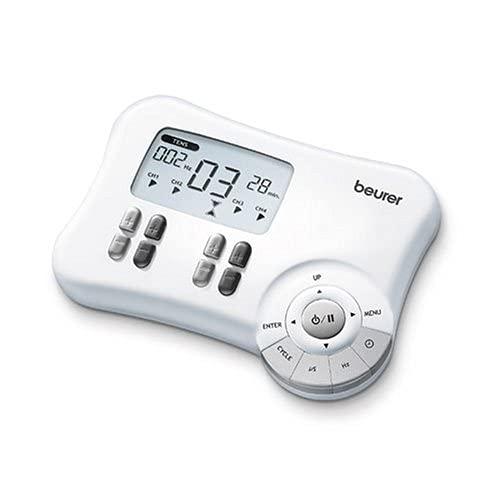 Beurer EM-80 Electroestimulador Digital, EMS, TENS, 4 Canales Separados, blanco