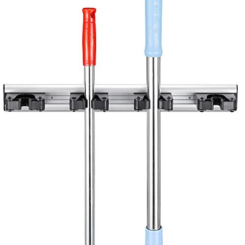 Navaris Soporte de pared para escoba - 4x Colgador para escobas fregonas herramientas - Organizador antideslizante para colgar en cocina baño garaje