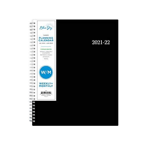 Blue Sky 130609 - Planificador semanal y mensual para año académico, 21,5 x 28 cm, cubierta flexible, encuadernado con alambre, Enterprise (130609)