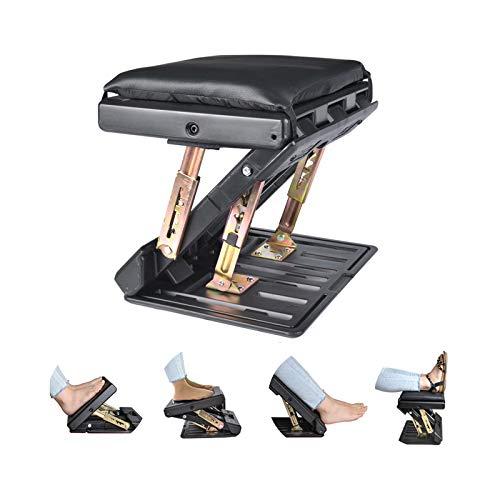 Reposapiés ajustable con almohadilla extraíble y suave, carga máxima de 54 kg con cuentas de masaje para coche, debajo del escritorio, casa, tren, ajuste de altura de 4 niveles