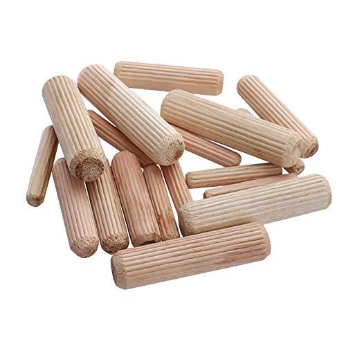 XINGX - Lote de 100 clavijas de madera estriadas para facilitar la inserción de pines rectos para muebles
