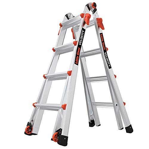 Little Giant Ladder Systems LG Escalera Multiuso con Capacidad de Carga de 136 kg, 17 foot with wheels