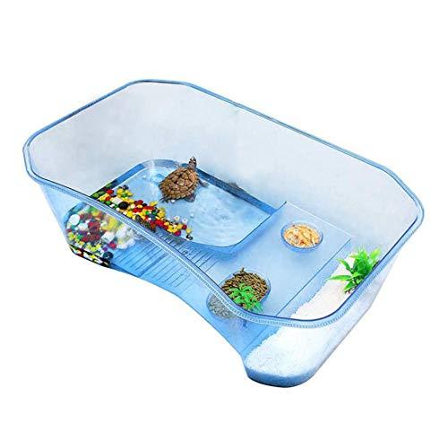 Ábitat para reptiles, tortuga, terrorífica, lago, reptil, tanque de acuario con plantas de plataforma (azul) (excluyendo accesorios