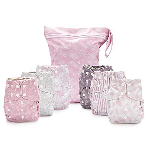 Simple Being Pañales de tela reutilizables, doble refuerzo, paquete de 6 bolsillos, tamaño ajustable, funda impermeable, 6 insertos, bolsa húmeda (tropical)