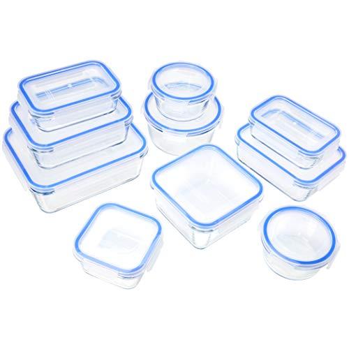 Amazon Basics - Recipientes de vidrio con cierre hermético, 20 piezas