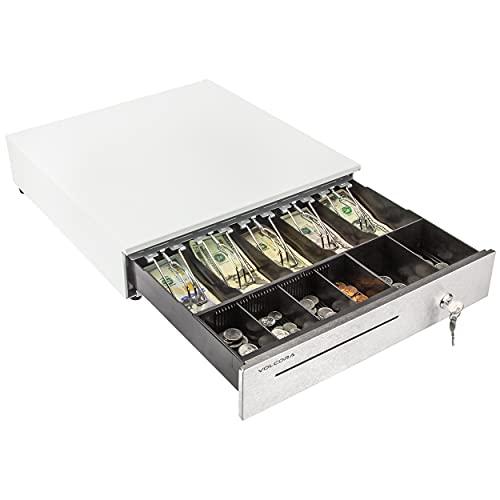 Cajón de caja registradora para sistema de punto de venta (POS) de 16 pulgadas, frontal de acero inoxidable y bandeja de monedas extraíble, 5 billetes/6 monedas, 24 V, cerradura RJ11/RJ12, ranura para medios, dinero en efectivo, cajón para negocios, color blanco