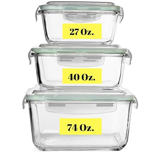 Contenedores de vidrio extra grandes para almacenamiento de alimentos con tapa hermética, 6 piezas [3] aptos para microondas, horno, congelador y lavavajillas. Sin BPA, PVC, tamaño extragrande/mediano/reutilizable