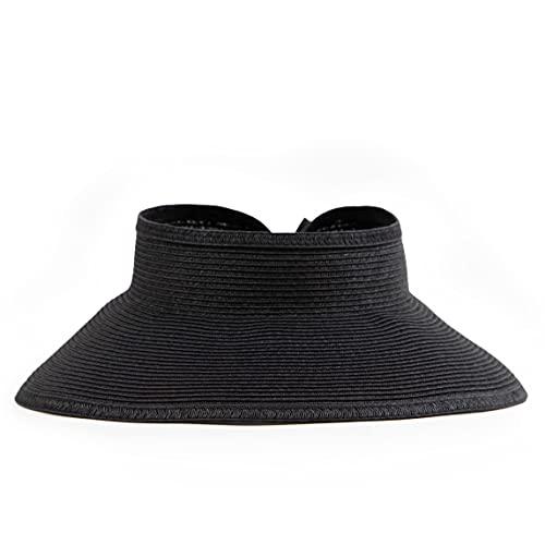 San Diego Hat Company - Visera ultrabraid para Mujer con Lazo y Banda para el Sudor, Negro, Talla única