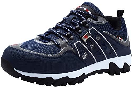 LARNMERN Zapatos de Punta de Acero para Hombre, Tira Reflectante para Trabajo de Seguridad, a Prueba de pinchazos, Calzado Industrial y de construcción (Azul/Blanco, 26.5 cm)