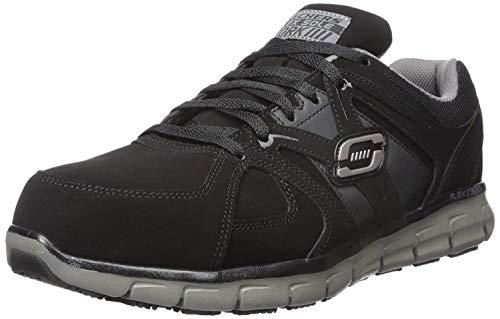 Skechers, Zapatos de Trabajo para Hombre, Synergy Ekron 77068, Negro/Carbón, 27 Ancho Medio