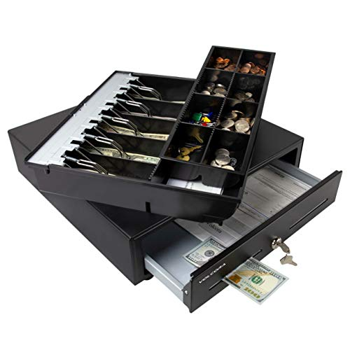 Cajón de caja registradora para sistema de punto de venta (POS) con bandeja de 2 niveles totalmente extraíble, 5 billetes/8 monedas, 24 V, RJ11/RJ12, ranura para medios doble, color negro, Negro, 5 Bill 8 Coin