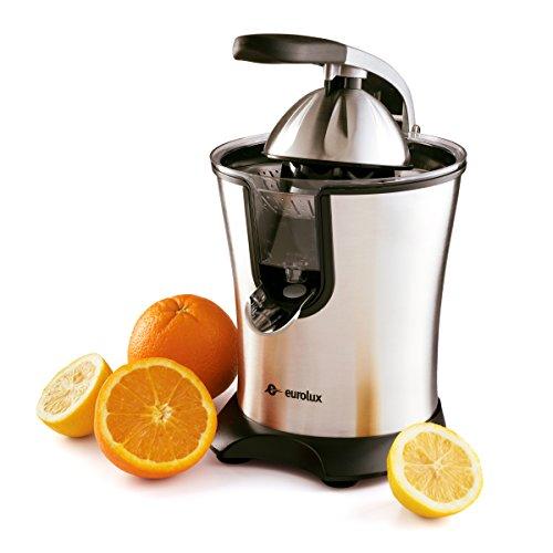 Eurolux Exprimidor eléctrico naranja de acero inoxidable 160 W de potencia mango de agarre suave y tapa de cono para un uso fácil