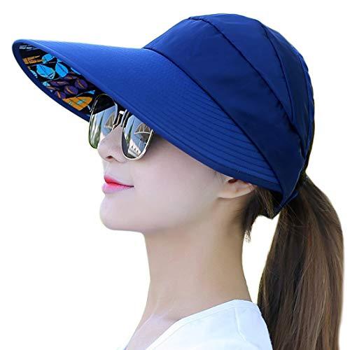 Sombreros de ala ancha para mujer, protección UV, visera para la playa, pesca, Marino, Fit Head Circumference Size: 21