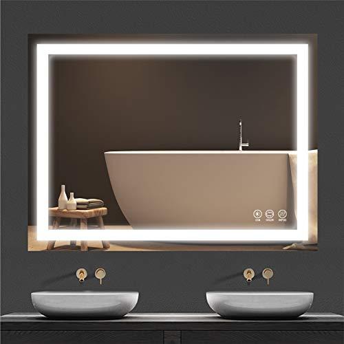 Butylux Espejo de baño LED de pared de 32 x 24 pulgadas con 3000 K-6000 K regulable, antiniebla, espejo de baño iluminado con botón táctil inteligente, función de memoria (horizontal / vertical)