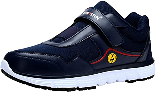 LARNMERN Zapatos de acero de los hombres de trabajo de seguridad zapatos indestructibles de trabajo zapatillas ligeras transpirables de construcción industrial calzado, Azul/Esd, 11.5 US