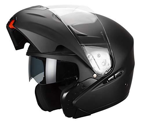 Casco Motociclista Faseed FS-901 Abatible (Negro Mate, M (57 - 58 cm))
