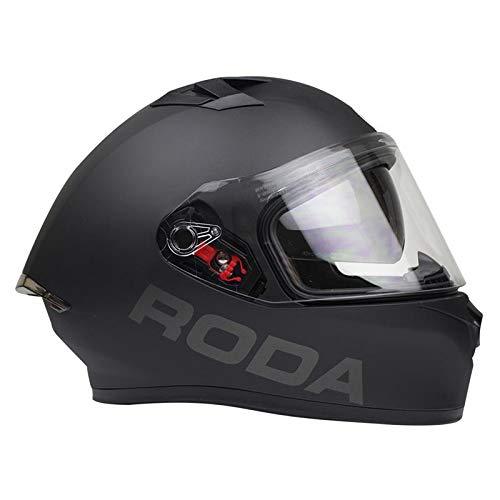 Casco para Moto Integral Roda Course Negro Matte Certificado DOT y Gafas Internas (XL)