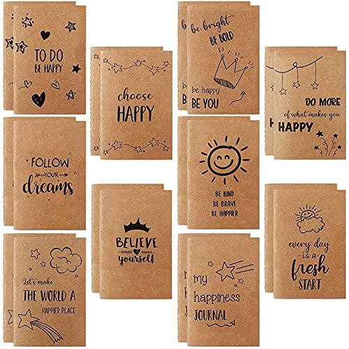 Paquete de 20 cuadernos pequeños de papel kraft para niños, mini cuadernos de 80 páginas, 8,9 x 14,9 cm, con 10 diseños diferentes