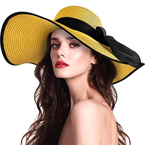 Sombreros de sol para mujer, de ala ancha, de paja para mujer, protección UV, sombreros de paja para verano (azul real), Amarillo, M