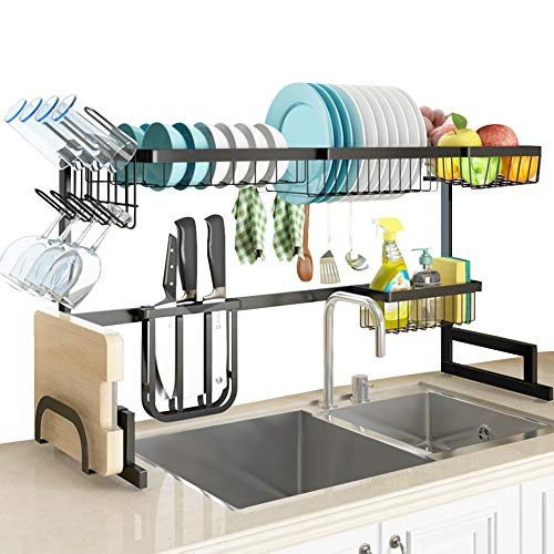 SLENPET - Escurridor de platos para el fregadero, ajustable (84 - 104 cm), estante de suministros de cocina con soporte para utensilios y 5 ganchos, 2 estantes resistentes de acero inoxidable para almacenamiento de cubierta de cocina