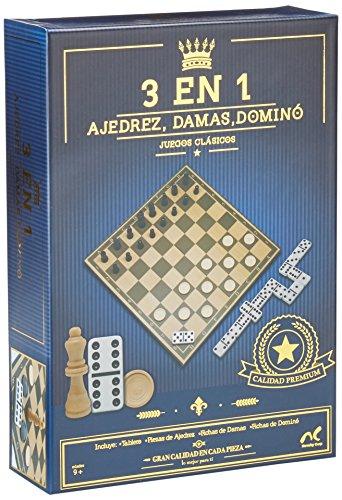 Novelty Juegos Clásicos Ajedrez Damas y Dominó, Caja de Cartón, 3 en 1